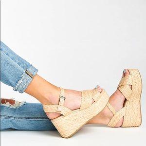 Steve Madden Pam Raffia Wedge Platform Heels